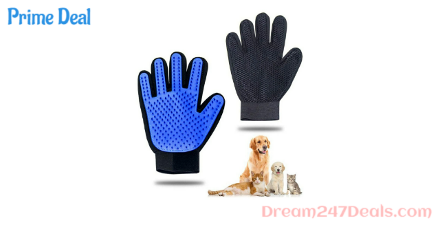Pet Grooming Glove - Gentle Pet Hair Remover Mitt - True Touch Deshedding Glove for Cats, Dogs for Long & Short Fur - Enhanced Five Finger Design for Cat Grooming Gloves Brush (One Pair)