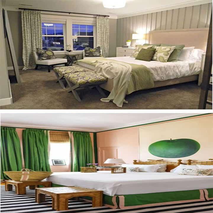 غرفة نوم باللون الأخضر والخوخ