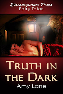 Cover of Truth In the Dark. Burgundy bands with the publisher's name and the book's title on them frame a picture of a dark-haired, shirtless white man lying on his side to face the viewer, a red silk blanket draped over his lower half. A man with a lion's head holds a lantern over him.