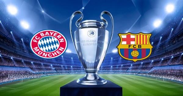 نتيجة مباراة بايرن ميونخ وبرشلونة بث مباشر 14- 8-2020 دوري ابطال اوروبا