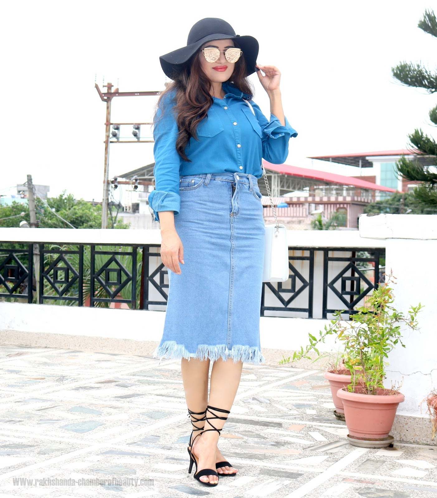 Blue Shirt + Denim Skirt Fall Fashion Trendsautumn outfit, Blue Embroidered collar shirt, fall fashion, fashion, How to style a blue shirt, Indian fashion blogger