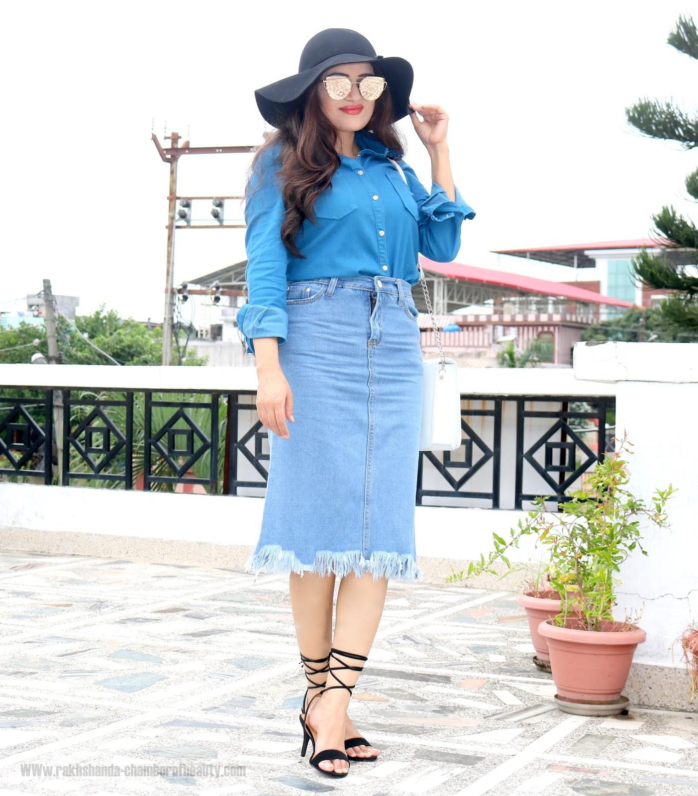 Blue Shirt + Denim Skirt Fall Fashion Trendsautumn outfit, Blue Embroidered collar shirt, fall fashion, fashion, How to style a blue shirt, Indian fashion blogger