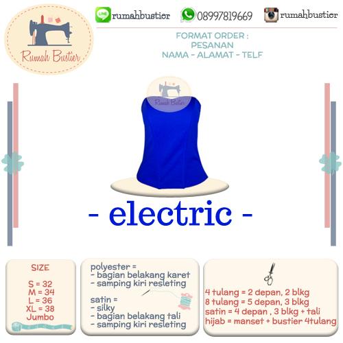 Bustier Longtorso Warna Biru Elektrik Model Tulang 4 8 Manset Muslim Satin