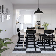 Scandinavian style dining room with simple decoration and nice black dining chairs also cool checkered rug