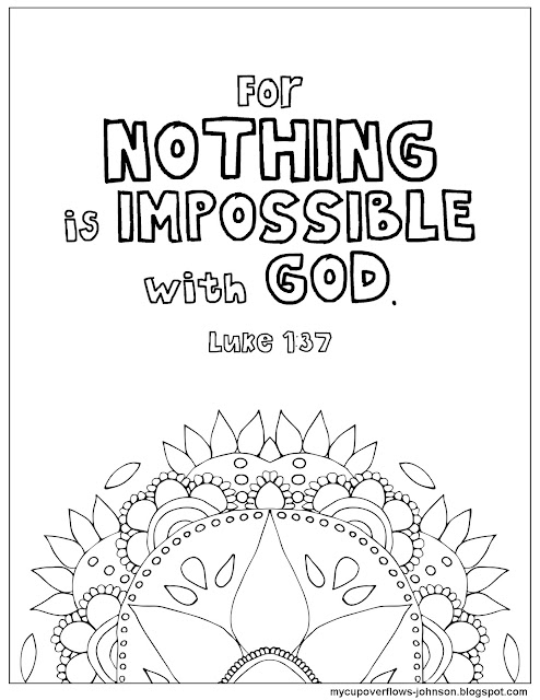 Luke 1:37 coloring page Nothing is impossible with God