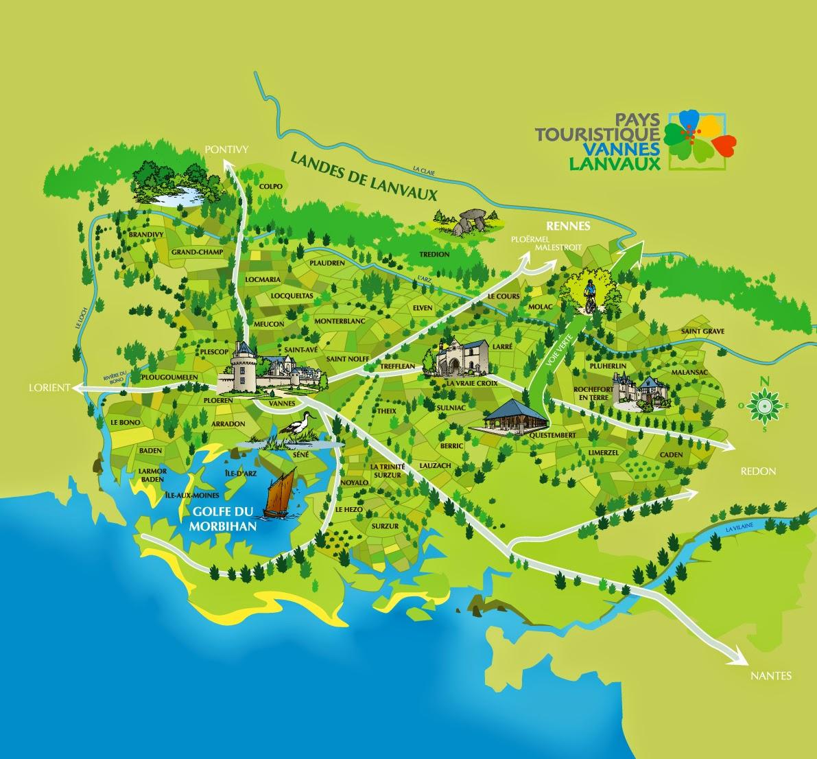 Mapa de Vannes y alrededores.