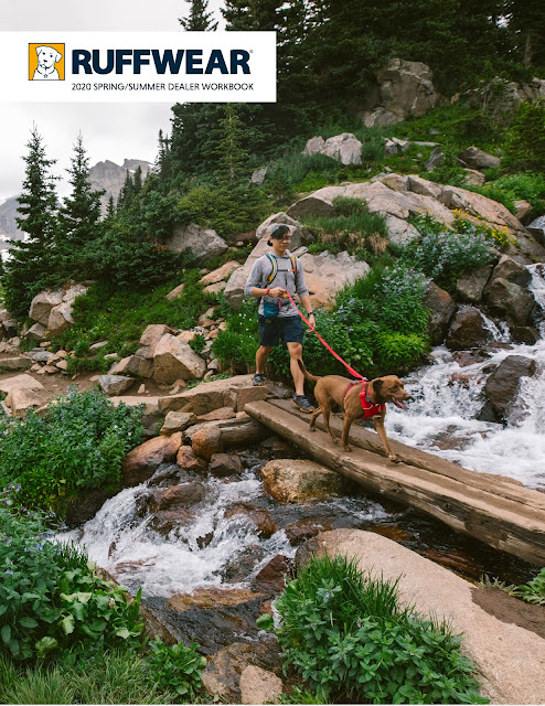 A man walks with his dog in the Colorado Rockies.