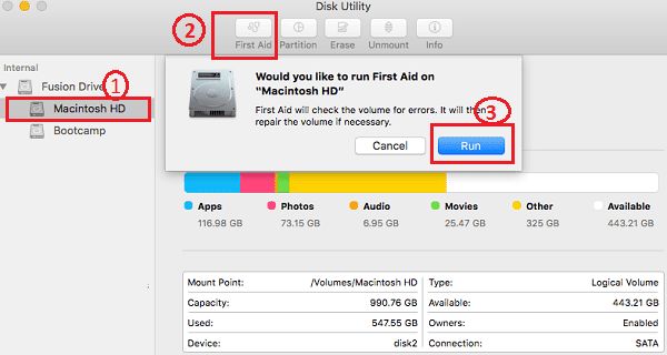 Run Disk Utility to Fix Slow Mac after upgrade to macOS Sierra