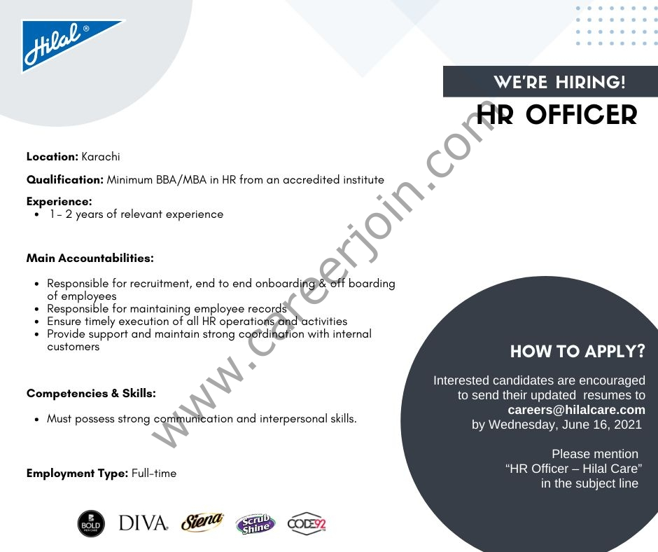 careers@hilalcare.com - Hilal Care Pvt Ltd Jobs 2021 in Pakistan