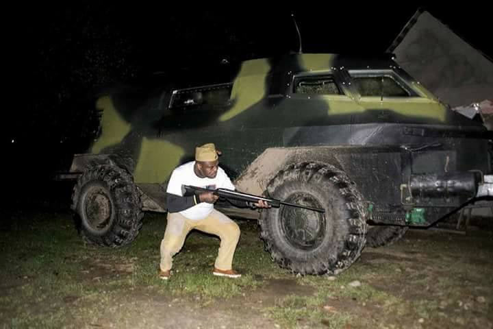 Photos: You won't believe what this pro-Biafran man did with a Nigerian Army armored tank
