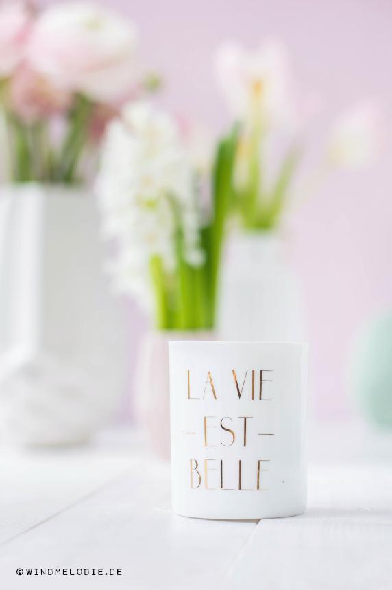 La Vie Est belle Teelicht gold weiß