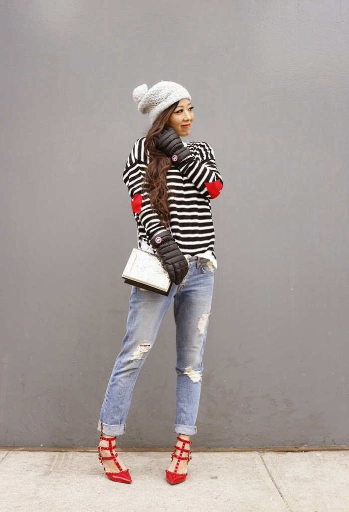 Asos stripe sweater with heart elbow patch, stripe sweater, elbow patch, river island beanie, canada goose gloves, baublebar 360 pearl studs, 7fam boyfriend jeans, valentino rockstuds heels, 31phillip lim shoulder bag, cute outfit ideas, fashion blog, NYFW