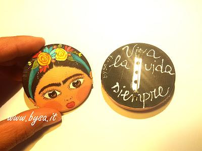 Frida Kahlo accessori dipinti a mano spille