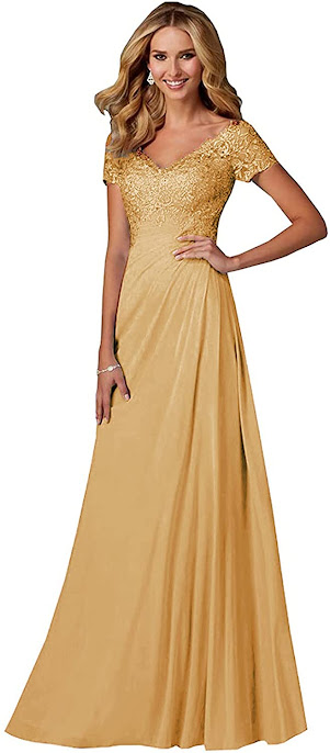 Floor Length Long Gold Mother of The Groom Dresses,