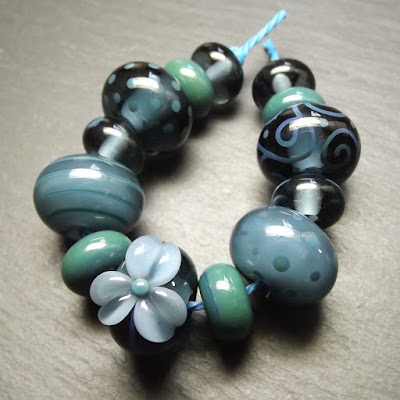 Lampwork glass beads made in Creation is Messy 'Mockingbird'