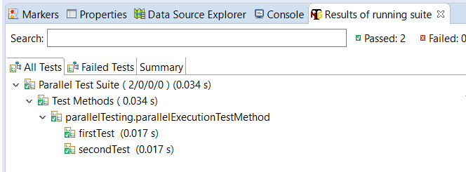 Results of parallel execution of test methods