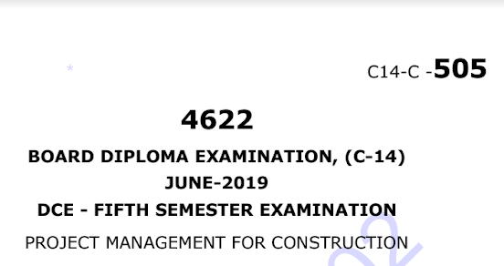 Sbtet Project Management For Construction Previous Question Paper c14 Civil June-2019