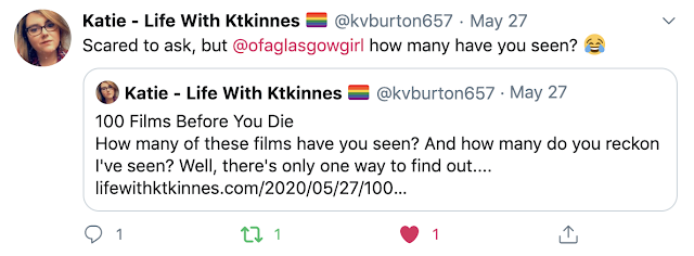 a screenshot of Screenshot of Lifewithktkinnes tweet on twitter that tags Ofaglasgowgirl