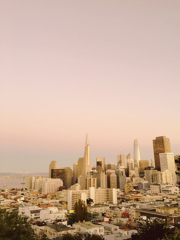San Francisco Bucket List - enjoy an epic view of the SF skyline at Ina Coolbrith Park in North Beach