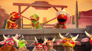 Sesame Street Episode 4313 The Very End of X season 43, Elmo the Musical Cowboy the Musical, the Count By Two Kid, Meow Moo Count by Two March