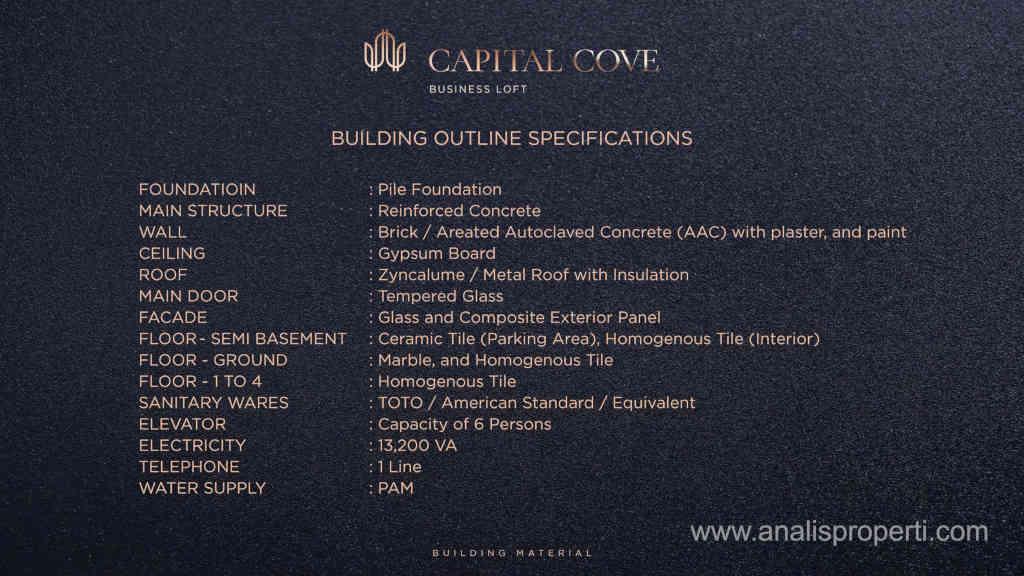 Spesifikasi Bangunan Capital Cove BSD