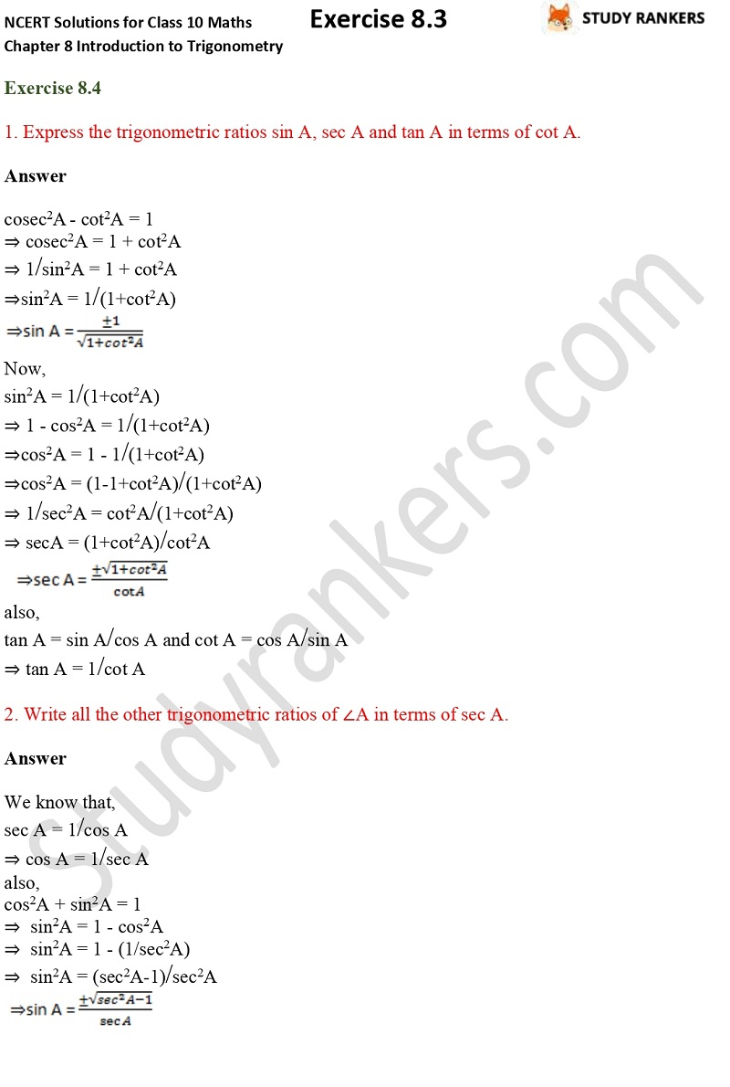 NCERT Solutions for Class 10 Maths Chapter 8 Introduction To Trigonometry Exercise 8.4 Part 1