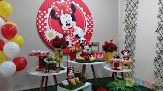 Decoração de festa infantil Minnie Vermelha