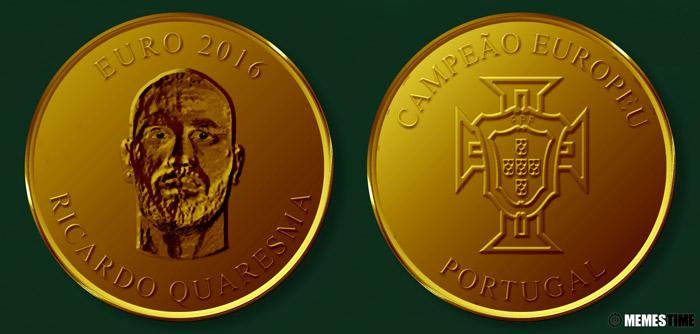 Meme com Medalha Comemorativa da Conquista do Euro 2016 pela Seleção Nacional de Portugal – Ricardo Quaresma.