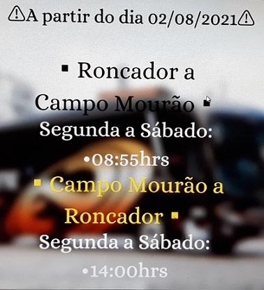 Novo Horário na linha de Campo Mourão à Roncador na Expresso Nordeste à partir de 2 de agosto