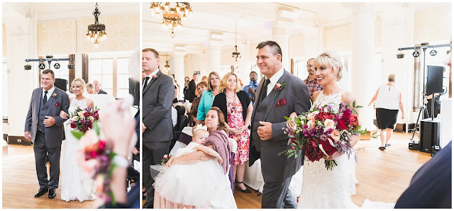 photos of bride and father walking down aisle