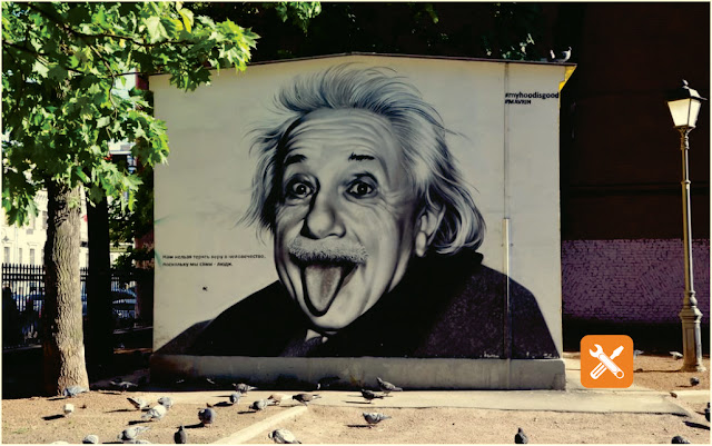 albert einstein graffiti in St. Petersburg, Russia