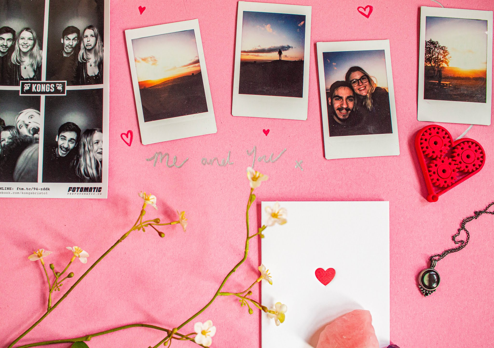 cute, affordable date ideas for valentines day 2020 - instax pictures of couple and sunset and hearts