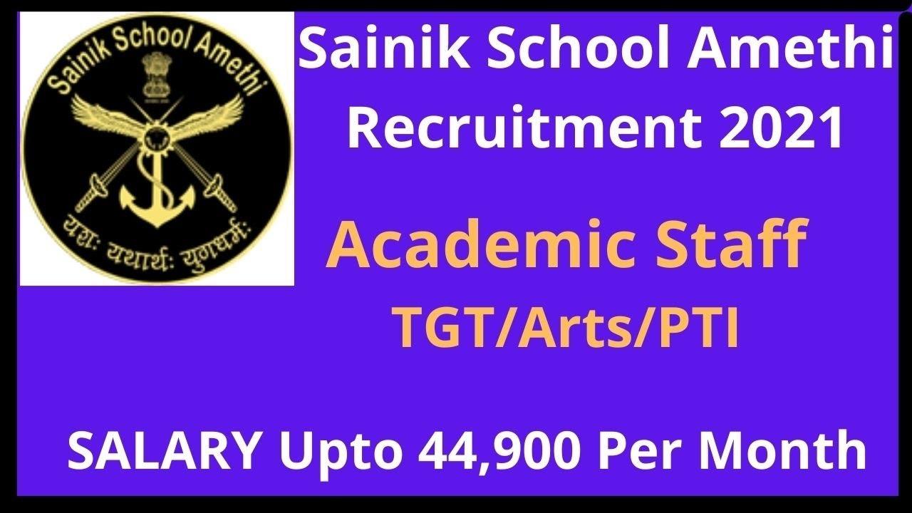 Sainik School Amethi Recruitment for 2021
