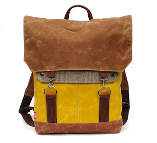 yellow backpack made of recycled wool from wooly bison