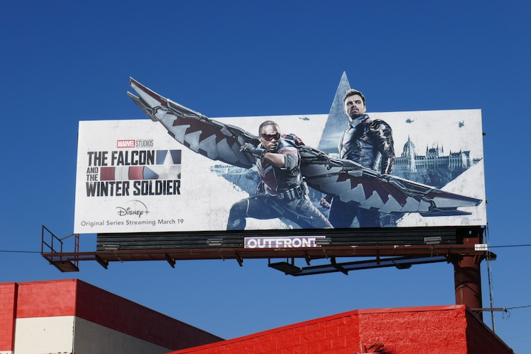 Falcon and Winter Soldier cut-out billboard