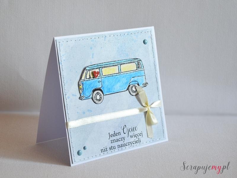 kartka dla taty, kartka z autobusem, na dzień taty