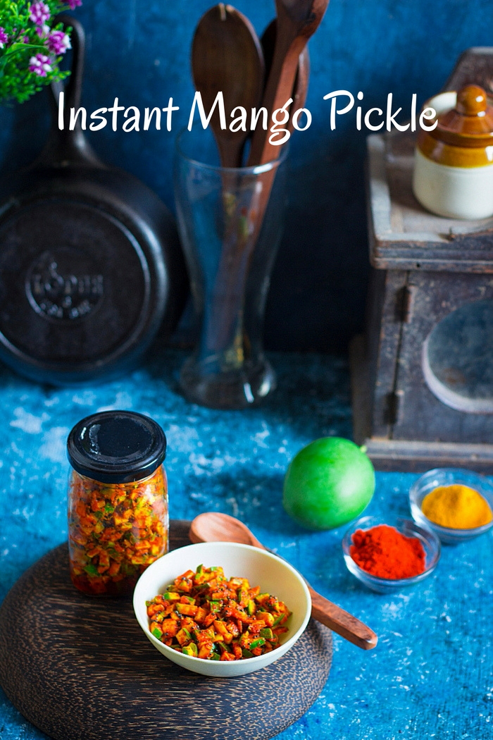Instant Indian spicy pickle made with raw mangoes recipe