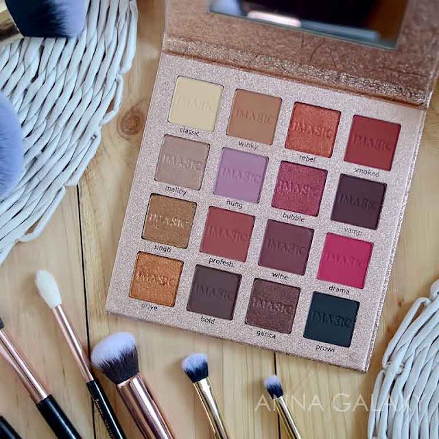 Красно-коричневая цветовая гамма Палетка теней для век Imagic PROfessional cosmetics 16 color eyeshadow palette