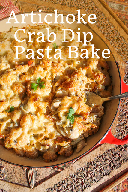 Food Love People Love: Artichoke crab dip pasta bake starts with the main ingredients of everyone's favorite baked artichoke dip, then adds crab, mushrooms and pasta for a delicious casserole the whole family will love.