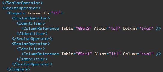 ival column IS comparison
