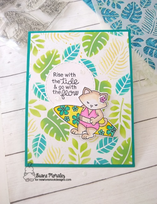 Ride with the waves by Diane features Newton's Perfect Wave, Tropical Leaves, and Circle Frames by Newton's Nook Designs; #inkypaws, #newtonsnook, #tropicalcards, #cardmaking, #catcards