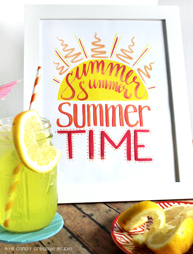 summer summer summer time, summer art print, tombow brush markers