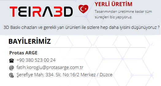 Protas Arge, Düzce merkezli yerli 3D yazıcı üreticisi TEIRA3D bayisidir