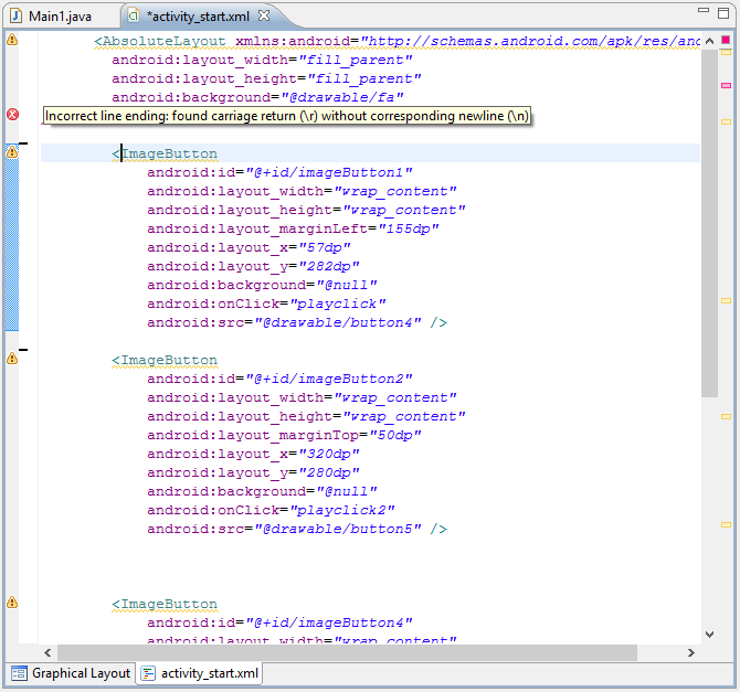 Incorrect line ending android xml