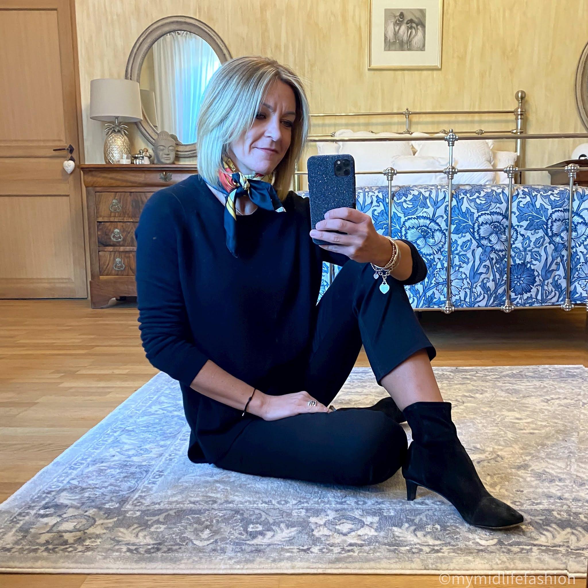 my midlife fashion, Hermes silk scarf, hush cashmere boyfriend jumper, j crew sammie kick flare jeans, Isabel Marant suede ankle boots