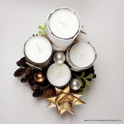 Weihnachtskerzengesteck mit Upcycling-Papprollen-Kerzen Stampin' Up! www.eris-kreativwerkstatt.blogspot.de