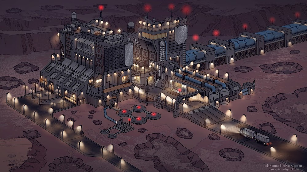 Factory on Mars (at night) by Adam Taylor