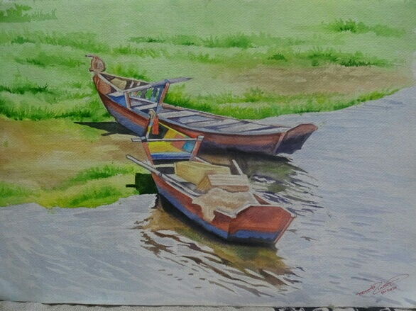 Painting: Two Boats in a River