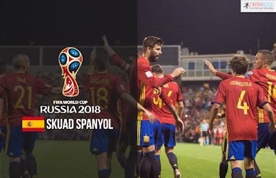 Skuad Susunan Pemain Spanyol di Piala Dunia 2018