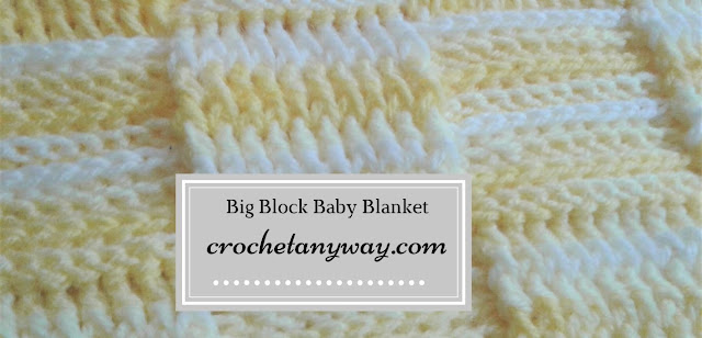 big block crochet baby blanket- yellow